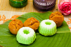Indonesian Food Putu Putri Ayu Pandan Suji and Mangkok Cake Stock Image
