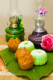 Indonesian Food Putu Putri Ayu Pandan Suji and Mangkok Cake Royalty Free Stock Images