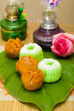 Indonesian Food Putu Putri Ayu Pandan Suji and Mangkok Cake Royalty Free Stock Image