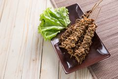 Sate usus. indonesian food. Indonesian food. sate usus in close up portrait. intestines satay royalty free stock photo