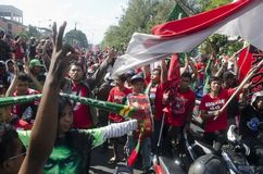 INDONESIAN FOOTBALL SUPPORTERS Stock Photos