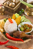 Indonesian fried chicken rice Stock Photo