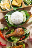 Indonesian fried chicken rice Stock Image