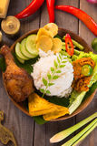 Indonesian fried chicken rice Royalty Free Stock Image