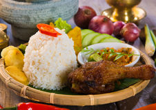 Indonesian fried chicken rice Stock Images
