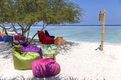 Indonesian Gili Trawangan Beach and Sunbed Royalty Free Stock Images