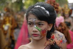 INDONESIAN GIRL PAINTED FACE Stock Photography