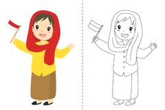 Indonesian Girl Wearing Betawi - Jakarta Traditional Dress. Outline Cartoon Vector for Coloring Page. Indonesian girl wearing Betawi, Jakarta traditional dress stock illustration