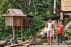 Indonesian girls on the street of Lempo village in Tana Toraja Royalty Free Stock Photos