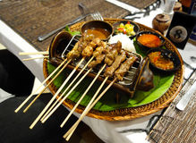 Indonesian Grilled Satay. Indonesian Grilled Chicken Satay sticks Stock Photos