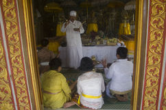 INDONESIAN HINDUISM. Indonesian Hindu devotees pray in Karanganyar, Java, Indonesia. Indonesian Hindu is a mix of Hinduism that came from India in 6th century AD Stock Photos