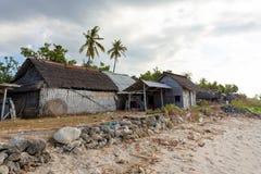 Indonesian house - shack on beach Stock Photos