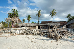 Indonesian house - shack on beach Stock Photos