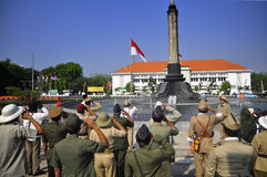 Indonesian independence ceremony. Independence Day commemorates the 69th Member dozens Semarang Onthel Community (SOC), August 17, 2015, Conduct flag ceremony in stock image
