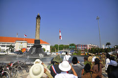 Indonesian independence ceremony. Independence Day commemorates the 69th Member dozens Semarang Onthel Community (SOC), August 17, 2015, Conduct flag ceremony in stock photos