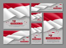 Indonesian Independence day celebration posters. Set. 17th of August felicitation greeting vector illustration. Realistic backgrounds with indonesian flag royalty free illustration