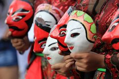 Indonesian Javanese masquerade masks royalty free stock images