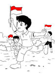 Indonesian kids celebrating independence day Royalty Free Stock Images