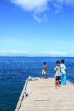 Indonesian children jetty  Stock Images
