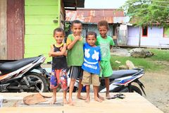 Papuan kids in Manokwari Royalty Free Stock Photos