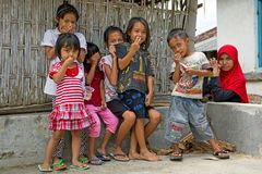 Indonesian kids in the streets in Lombok, Indonesia Stock Images