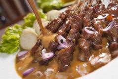 Indonesian (Madura) chicken satay Royalty Free Stock Photo