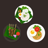 Indonesian malaysian food. Nasi goreng lemak sate ayam Royalty Free Stock Photos