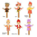 Indonesian Male Puppet Characters Cartoon Vector. Indonesian male puppet character set, in traditional clothes cartoon vector. printable puppet character Royalty Free Stock Photography