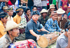Indonesian man is playing drum, Lombok, Idonesia Royalty Free Stock Image