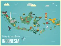 Indonesian map with animals and landmarks.  stock illustration