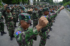 INDONESIAN MILITARY POWER. Elite force cadets of Indonesian Air Force at Adi Soemarmo Airbase in Solo, Java, Indonesia. Indonesian military spending in the Royalty Free Stock Image