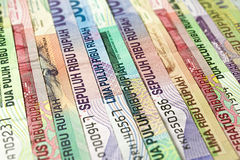 Indonesian Money Rupiah. Currency in various banknotes denomination royalty free stock photography