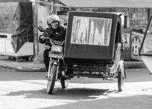 An Indonesian motorcyclist in Northern Sumatra, Indonesia Stock Image
