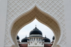Indonesian muslim architecture, Banda Aceh. Detail of the Masjid Raya Baiturrahman mosque in Banda Aceh city in Indonesia, Sumatra island royalty free stock image