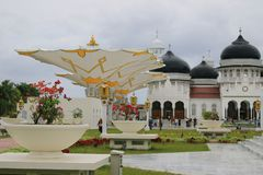 Indonesian muslim architecture, Banda Aceh. Indonesian muslim architecture, Baiturrahman mosque is one of mosque in indonesia which have history for indonesian royalty free stock photos