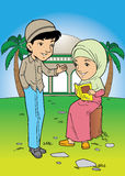 Indonesian muslim couple talking Stock Image