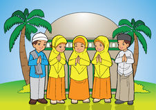 Indonesian muslim kids greetings Stock Photos
