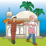 Indonesian Muslim Kids and Mosque Royalty Free Stock Image