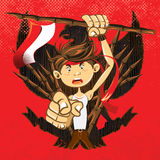 Indonesian National Heroes Patriot Warrior. Indonesian Heroes Reclaim Indonesia At War stock illustration