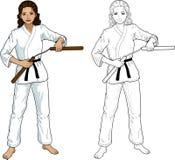 Indonesian Nunchuck girl in karategi Stock Photo