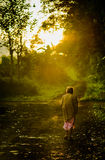 Indonesian old woman walk in the morning Stock Photos