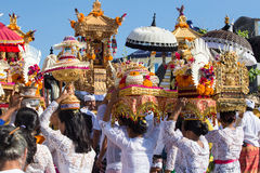Indonesian people celebrate Balinese New Year and the arrival of spring. Ubud, Bali, Indonesia Royalty Free Stock Images