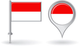 Indonesian pin icon and map pointer flag. Vector Stock Images