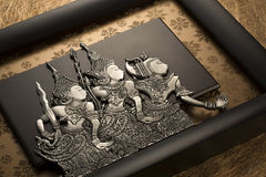Indonesian plaque featuring three characters from Hikayat Seri R Stock Photography