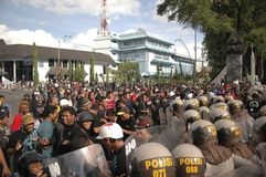 INDONESIAN POLICE CONTROVERSY. A riot handling simulation held by the Indonesian Police in Solo, Java, Indonesia. Indonesian Police are controversially on Stock Photography