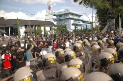 INDONESIAN POLICE CONTROVERSY. A riot handling simulation held by the Indonesian Police in Solo, Java, Indonesia. Indonesian Police are controversially on Stock Images