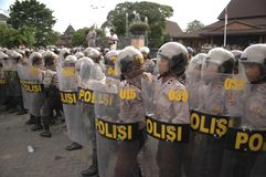 INDONESIAN POLICE CONTROVERSY. A riot handling simulation held by the Indonesian Police in Solo, Java, Indonesia. Indonesian Police are controversially on Royalty Free Stock Images