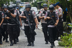 INDONESIAN POLICE MOBILE BRIGADE Royalty Free Stock Image