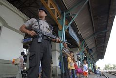 INDONESIAN POLICE SEPARATION Stock Photography