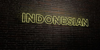 INDONESIAN -Realistic Neon Sign on Brick Wall background - 3D rendered royalty free stock image Royalty Free Stock Photography